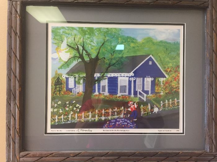 "signed framed print by A. Moseley ""The House is Blue but the Old Lady Ain't"""