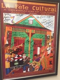 Cajun French and Zydeco  music poster signed by all of the local Cajun and Zydeco musicians
