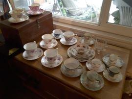 Bone China Tea Cups, Vintage Chest