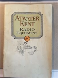 Atwater Kent Radio Equipment Manual  Form No. 108, printed in USA September 1924.