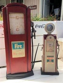 ESS004 Two Vintage Retro Gas Pumps