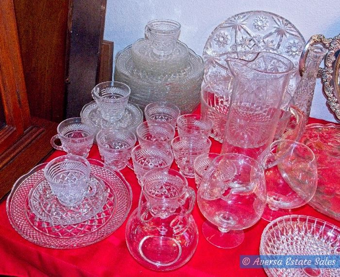 Tables of Crystals and Vintage Glassware