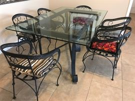 """Wrought Iron Dining Table (74 1/2"""" x 47""""D x 31 1/2"""" H"""