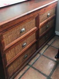 """DRESSER w/ wicker drawers (50 1/2W x 21"""" D x 32 1/2""""H"""