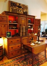 Antique English Pine Hutch and a nice assortment of decor