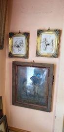 Antique Miessen art framed pair.  Scene from Cafe Park of Sanssouci
