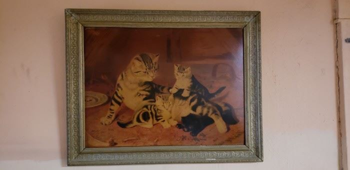 Vintage cat painting