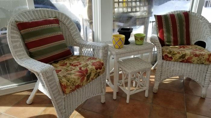 Wicker Arm Chairs and Nesting Table