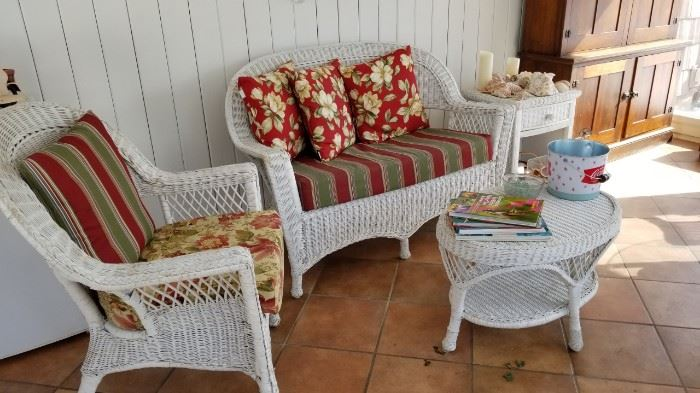 Wicker Loveseat Arm Chair and Table