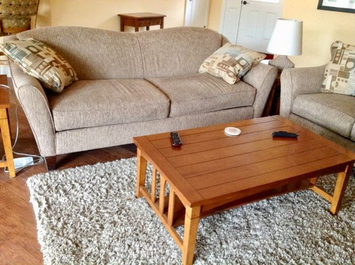 Sofa, Loveseat, Coffee Table, 2 End Tables, Area Rug