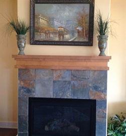 Artwork & 2 nice Vases