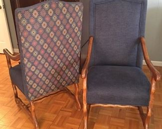 Fremarc Designs Provence host and hostess pecan wood arm chairs. Dimensions 23 x 29 x 46.5.