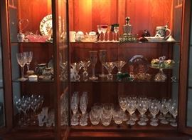 Assorted fine crystal.  Antique and vintage china.
