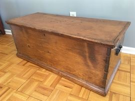 Antique 19th century solid pine, dovetailed blanket box or wedding box.  Very good condition.  Original key and handwritten note attributing gift.  Dimensions: 44 x 18.5 x 17.5.