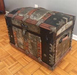 19th century antique steamer trunk.  Curved top.  One of the finest examples found.  See interior photo (next).  Dimensions: 31 x 18 x 22.