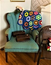 vintage chair and wooden prncil boxes