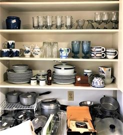 blue and white dishes and glassware