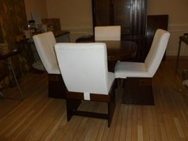 Unusual LANE Mid-Century Modern DR Table w/4 chairs & 2 leaves