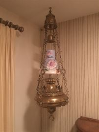 Gorgeously Converted Antique 4 foot (Possibly Old Church?) Hanging Lamp