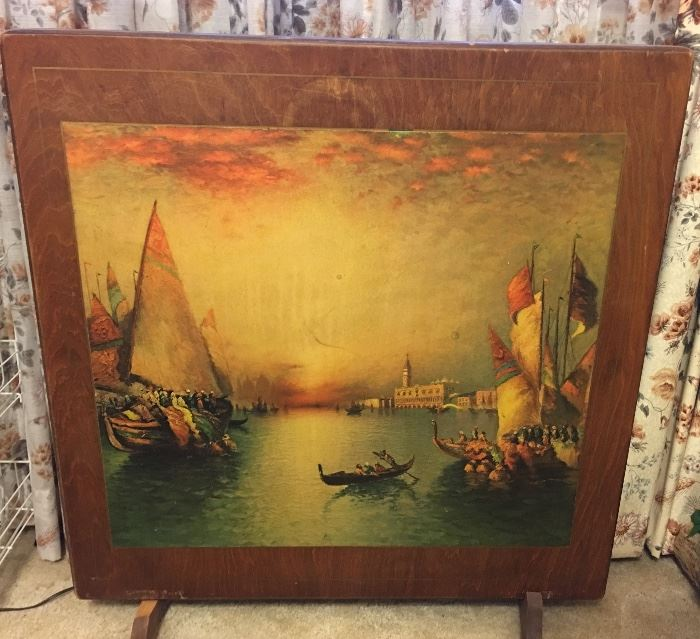 Antique Folding Card Table Converts into Fireplace Screen (Ships / Sailing Lithograph)
