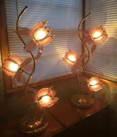 Mid Century Modern Hollywood Regency Gold & Pink 3-Way Lamps!