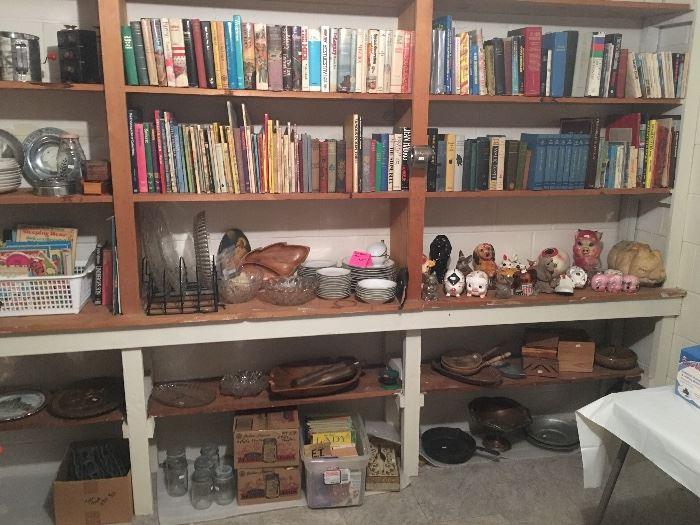Books, Banks, Glassware, Iron