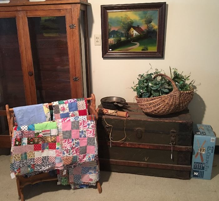 Trunk, Quilt Coverelts, Artwork, Ceiling Fan new in box