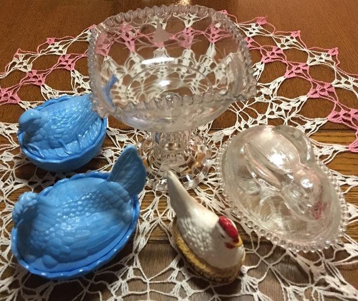 Heisey Mark Blue Slag Glass Rooster & Bird Nesting Dishes, LE Smith Easter Rabbit Bunny Nesting Dish