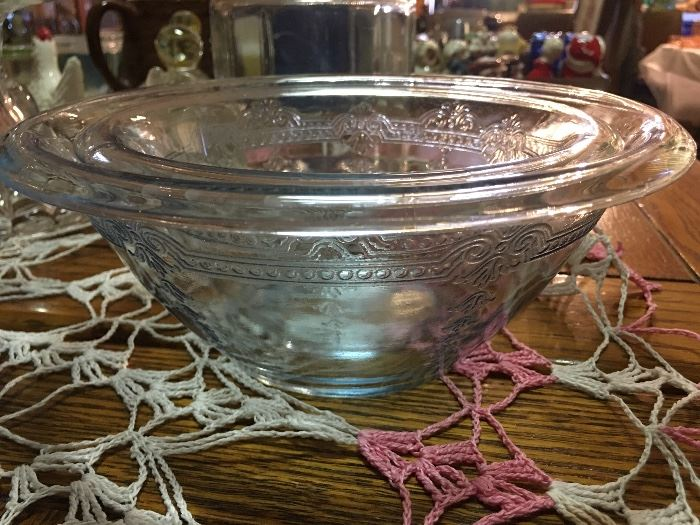 Fire King Saphire Blue Etched Philbe Mixing Bowls - Covered Dish Available as well