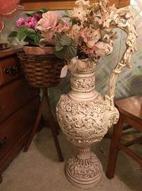 Heavy Floor Vase w/ Flowers
