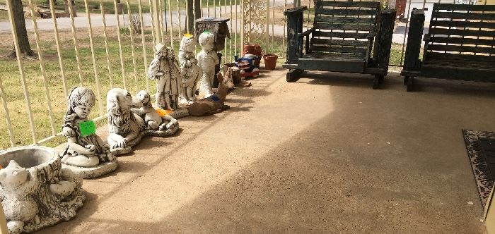 Concrete Statue Statues Statuary, Wood Wooden Outdoor Chairs / Deck Patio