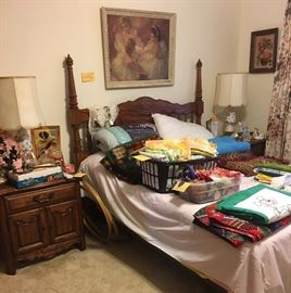 Full Size Bed; matching nightstands, Mattress & Box Spring, Rails - Beautiful Mid Century Lamps