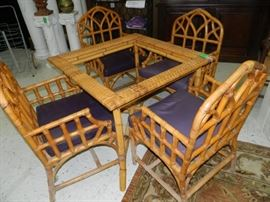 Rattan Table and Chairs - has glass top. Not in photo.