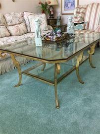 Glass & brass coffee table