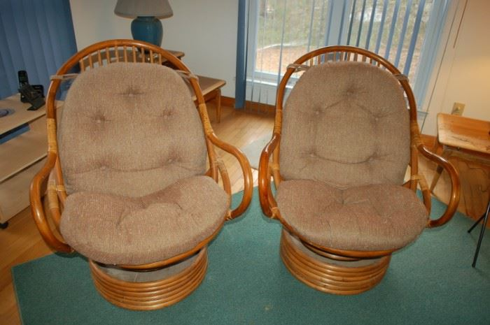 Pair of wicker swivel rockers