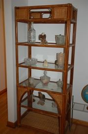 Wicker and glass shelf