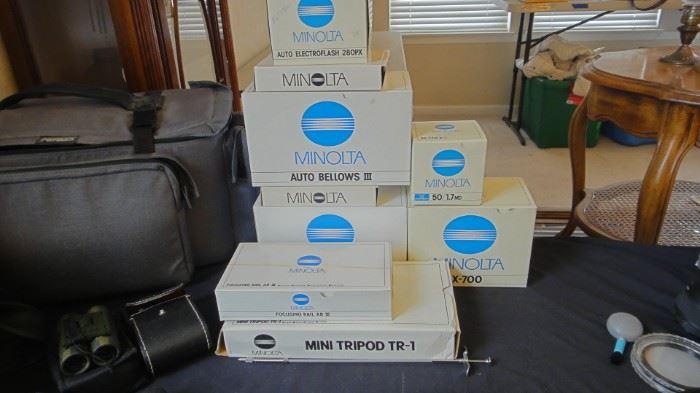 NEW IN BOX - Minolta Auto Bellows III, Minolta Body X700,  Minolta Lens 50MM, Minolta Lens 280PX, Minolta Focusing Rails, Minolta Tripod mini TR1