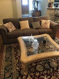 Decorator Table, Quality Rug, Sofa