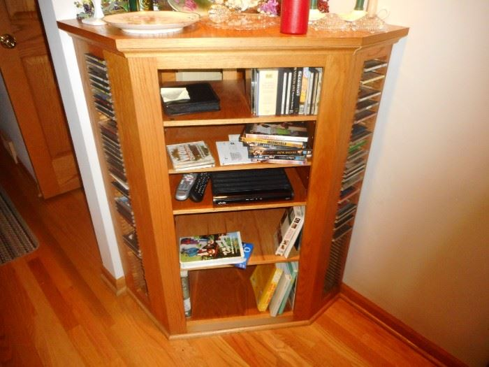 Corner Media Cabinet. Side holds CD's DVD's