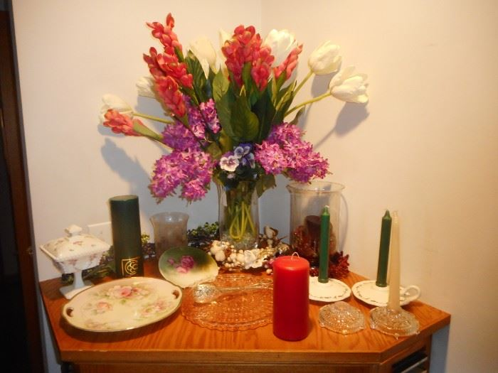 Silk Flowers, Candles,
