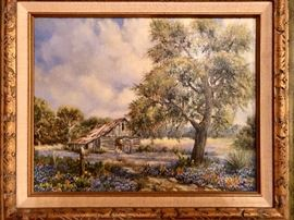 Original oil painting of Texas Hill country and bluebonnets by Doris Spears