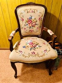 Needlepoint upholstered chair
