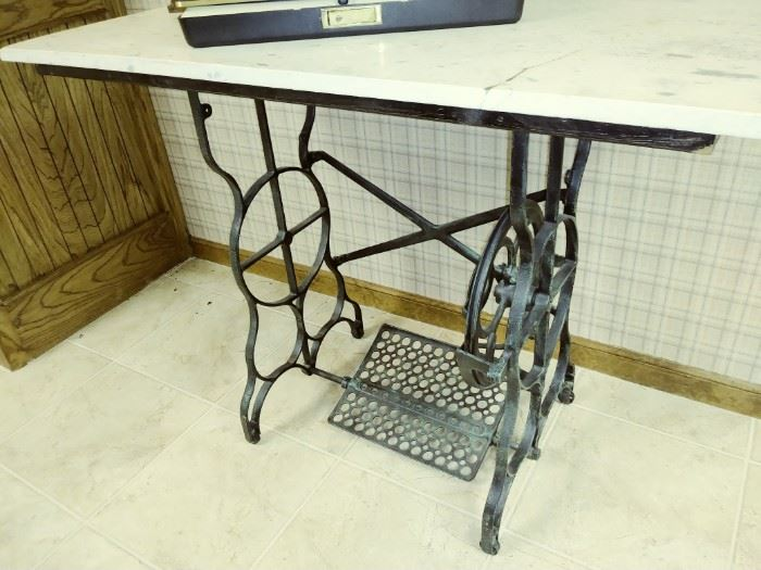 treadle base w/marble table top