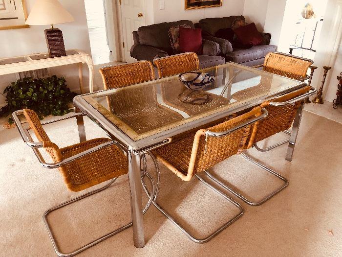 Mid-century Italian chrome, glass and rattan dining room set - GORGEOUS