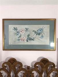 Beautiful Signed Framed floral painting with blue matte and gold colored frame https://ctbids.com/#!/description/share/100176