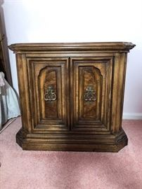 Wooden bedside table with drawers and shelves inside https://ctbids.com/#!/description/share/100178