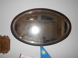 oval mirror with beveled edge