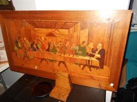 wood inlaid last supper