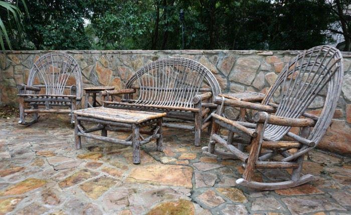 Bent-wood patio furniture