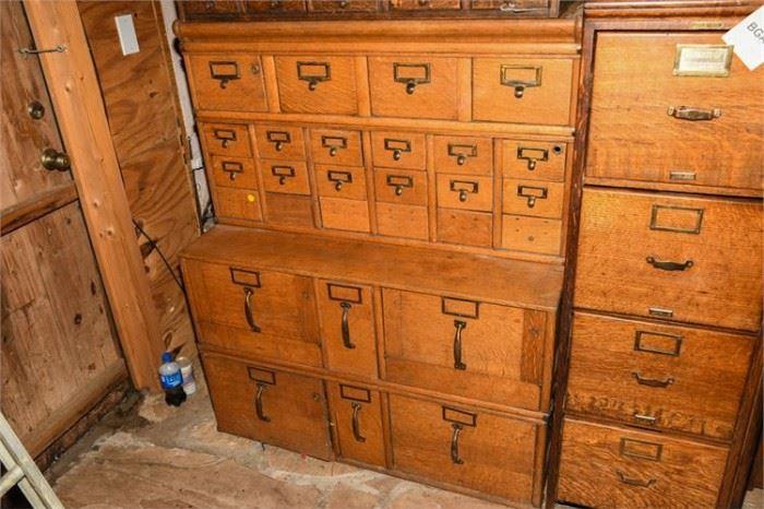 5. TwoPart MultiDrawer Oak File Cabinet